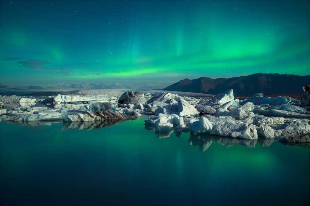 Glacier Lagoon Northern Lights